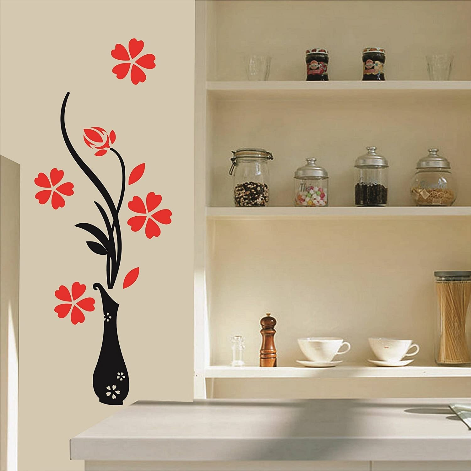 buy asmi collections pvc wall stickers beautiful peacock on asmi collections pvc wall stickers beautiful vase and flowers
