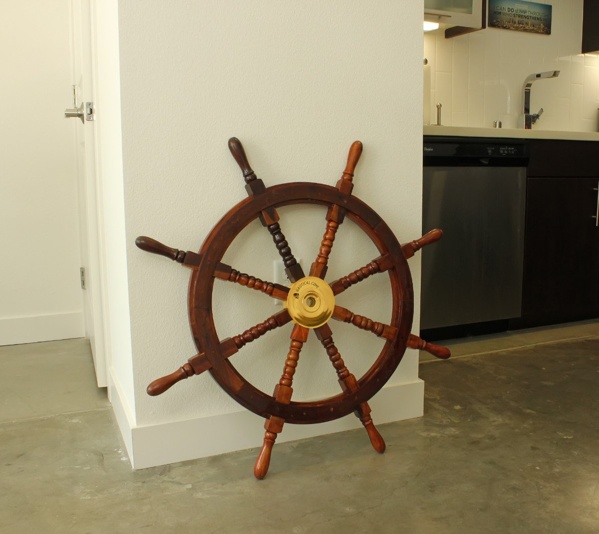 "Nautical Cove Wooden Ship Wheel Pirate Decor, Ships Wheel for Home, Boats, and Walls (36"" Diameter)"