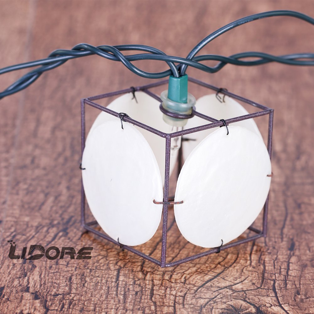 LIDORE Set of 10 Vintage style Square with Seashells String Lights. Ideal for home and simple decor 5