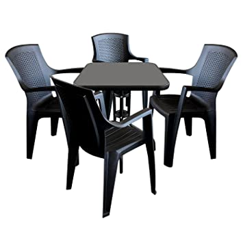 5tlg. Gartenmöbel Set Gartentisch Glastisch Bistrotisch 60x60x71cm mit schwarzer undurchsichtiger Tischglasplatte + 4x Stapelstuhl Rattan-Look Schwarz Vollkunststoff Sitzgruppe Terrassenmöbel Sitzmöbel Balkonmöbel Sitzgarnitur Gartenga