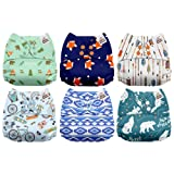 Mama Koala One Size Baby Washable Reusable Pocket Cloth Diapers, 6 Pack with 6 One Size Microfiber Inserts (Outdoor Journey) (Color: Outdoor Journey, Tamaño: One Size)
