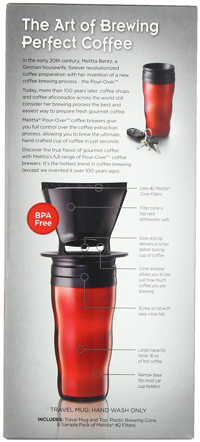 Melitta Coffee Maker, Single Cup Pour-Over Brewer with Travel Mug, Red (Pack of eBay