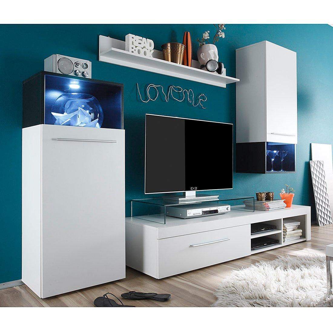 trendteam MC94702 Wohnwand Wohnzimmerschrank Anbauwand weiss, Absetzungen schwarz, Glas Pasol grau, BxHxT 234x183x47 cm online bestellen
