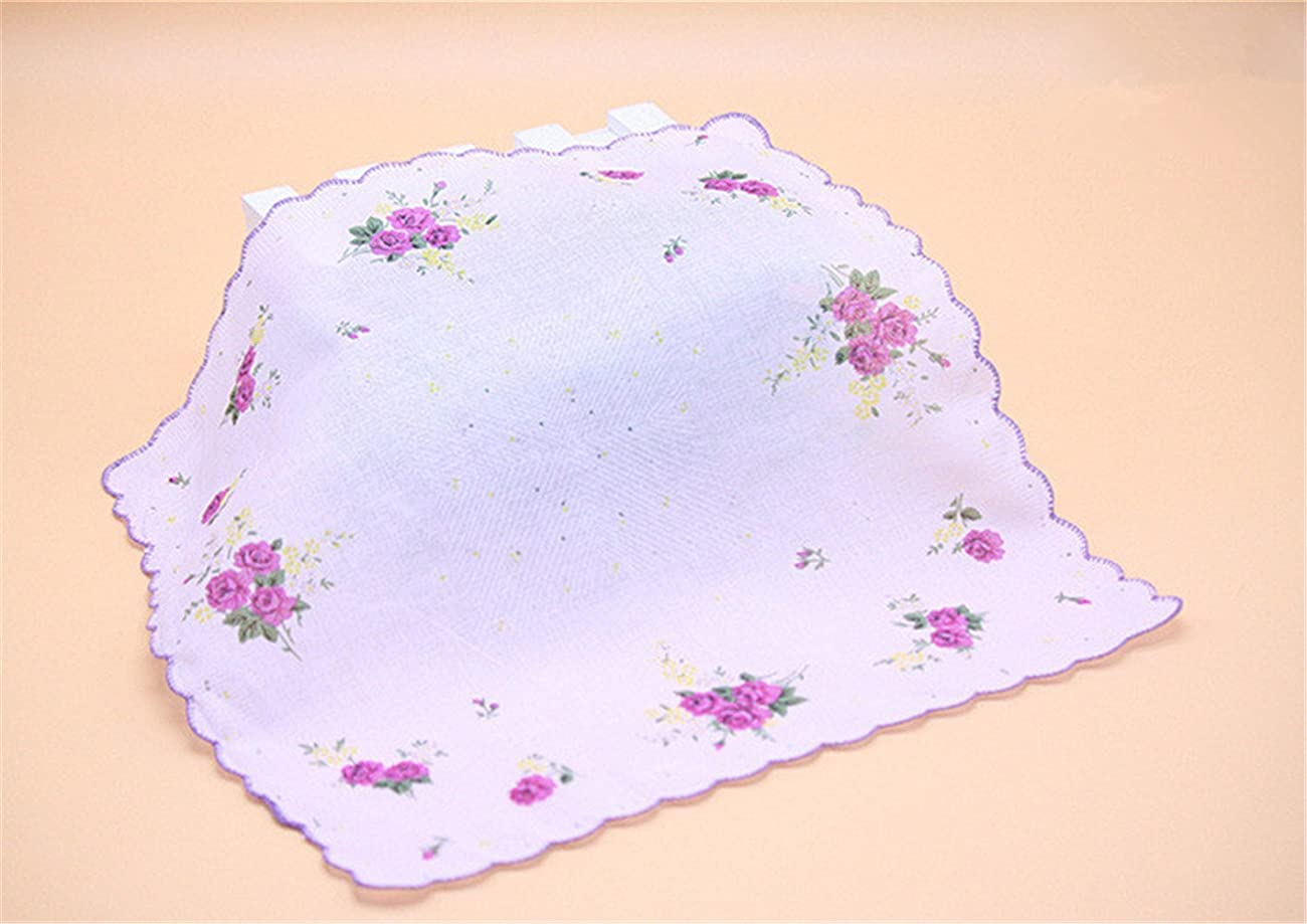 Colorful Women Quadrate Floral Handkerchiefs Wedding Party Fabric Hankies 5