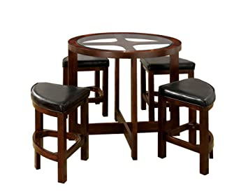 Furniture of America Julius 5-Piece Round Counter Height Table Set with 5mm Beveled Glass Top, Dark Walnut Finish