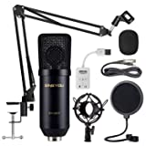 ZINGYOU Condenser Microphone Bundle, ZY-007 Professional Cardioid Studio Condenser Mic include Adjustable Suspension Scissor Arm Stand, Shock Mount an