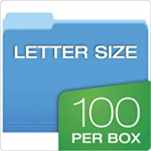 Pendaflex Two-Tone Color File Folders, Letter Size, Assorted Blue, Yellow, Red, Bright Green, Orange, 100 Total Folders (152 1/3 ASST)