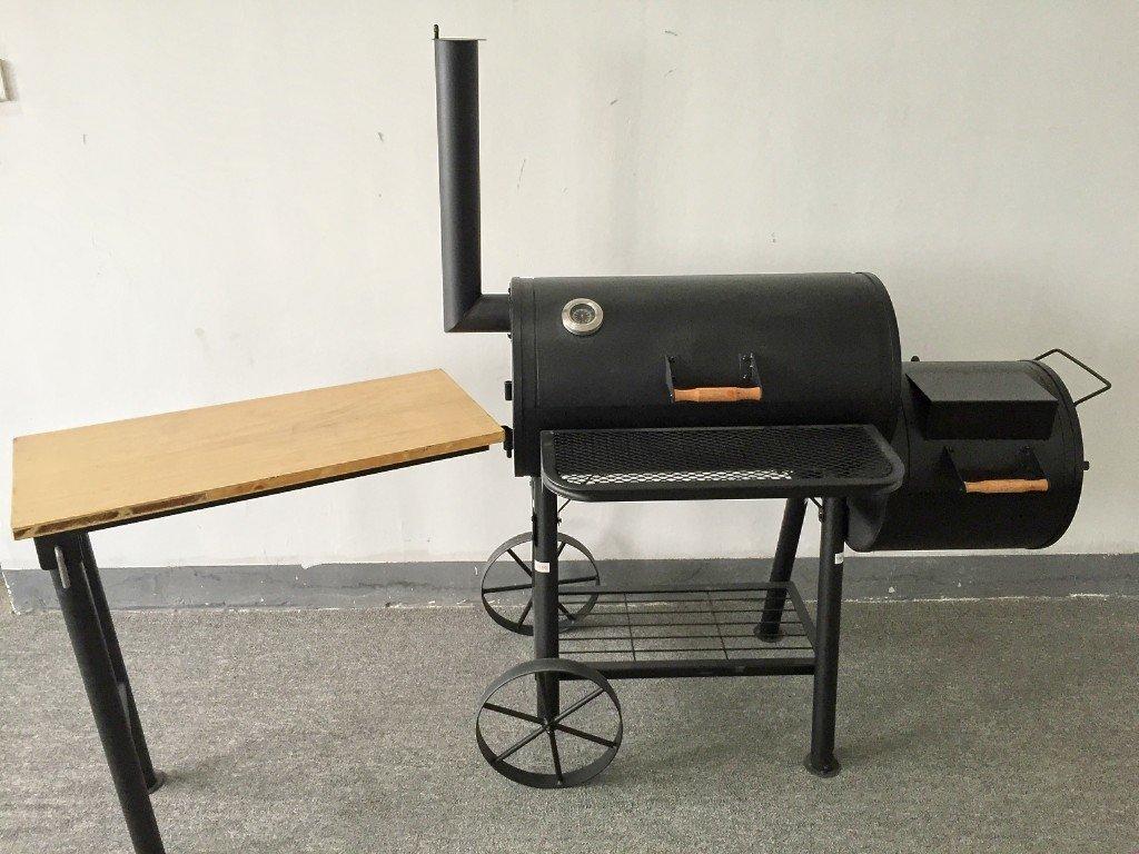 (ABD) TEXAS – PROFI XXL Smoker mit Beistelltisch BBQ GRILLWAGEN ca. 55kg Holzkohle Grill Grillkamin ca. 2,0 mm Stahl PROFI-QUALITÄT günstig online kaufen