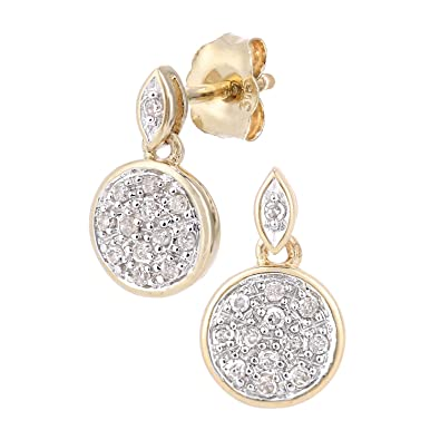 Naava 9ct Gold Diamond Drop Earrings PE05621W
