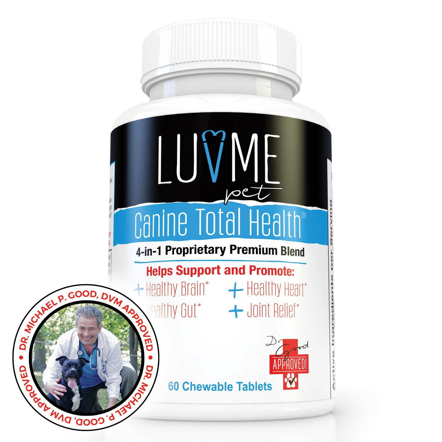 Probiotics For Dogs Canine Total Health By LuvMePet - Well Rounded Nutrient Based Supplement. Veterinarian Formulated With 4-1 Proprietary Blend Supporting Healthy Brain, Gut, Heart, Joint & Coat