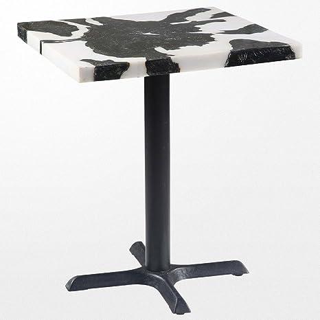Table carré en bois et en métal noire et blanche de 70 x 70 x 80 cm