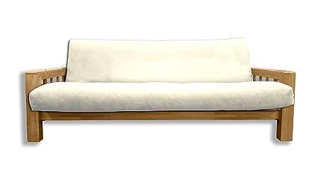 Canapé lit Bifold, housse écru, 200x140x30 cm