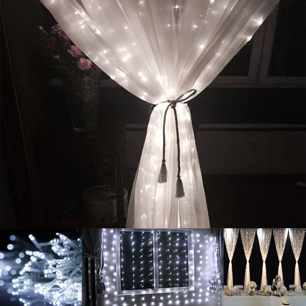 Curtain Of String Lights : String Light Curtain Panel Bedroom Indoor Outdoor Mini Lights