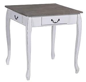 Tisch Tischchen Beistelltisch im Used Shabby Chic 70 x 70 x 75 cm weiss oben dunkel    Kundenbewertung und weitere Informationen