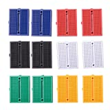 Qunqi 12pcs 170 Points Mixcolor Mini Breadboard for Arduino ProtoShield (Blue+Black+Red+Green+Yellow+White)