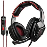 SADES SA920 PS4 Gaming Headset Headphone Over Ear Setero Headset with Microphone, Soft Memory Earmuffs, Noise Canceling 3.5mm Jack for PS4 Xbox One Controller/Mac/PC/Computer(Black Red) (Color: SA920r)