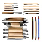Set of 30 Clay Sculpting Tool Wooden Handle Pottery Carving Tool Set by Blisstime