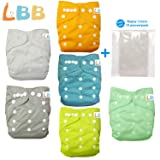 Baby Double Rows of Snaps 6pcs Pack Fitted Pocket Washable Adjustable Cloth Diaper(Netural Color)6BM98, AMGrey, One Size (Color: AMGrey, Tamaño: One Size)