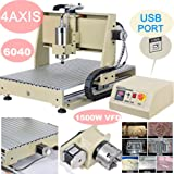 Power Milling Machines by CNCEST,4 Axis 6040 USB Port 1500W CNC Router Engraver Print Engraving Cutting MACHINE MACH3 VFD Machine Milling Drilling Milling Machine
