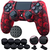 9CDeer 1 Piece of Silicone Studded Water Transfer Protective Sleeve Case Cover Skin + 8 Thumb Grips Analog Caps + 2 dust proof plugs for PS4/Slim/Pro Dualshock 4 Controller, Skull Red (Color: Skull Red, Tamaño: printing)