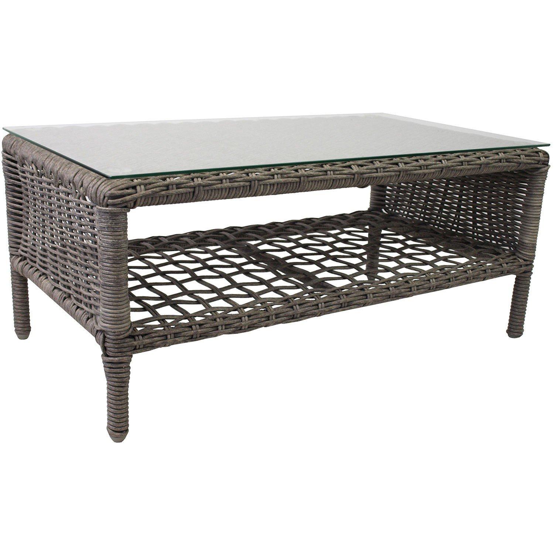 Rattantisch inkl. Tischglasplatte 88x48cm mit Ablage Gartentisch Beistelltisch Couchtisch Wohnzimmertisch Grau jetzt bestellen