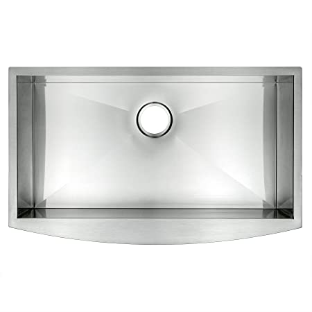 "AKDY 33"" Undermount Apron Stainless Steel Single Bowl Zero Radius 16 Gauge Curved Front Kitchen Sink"