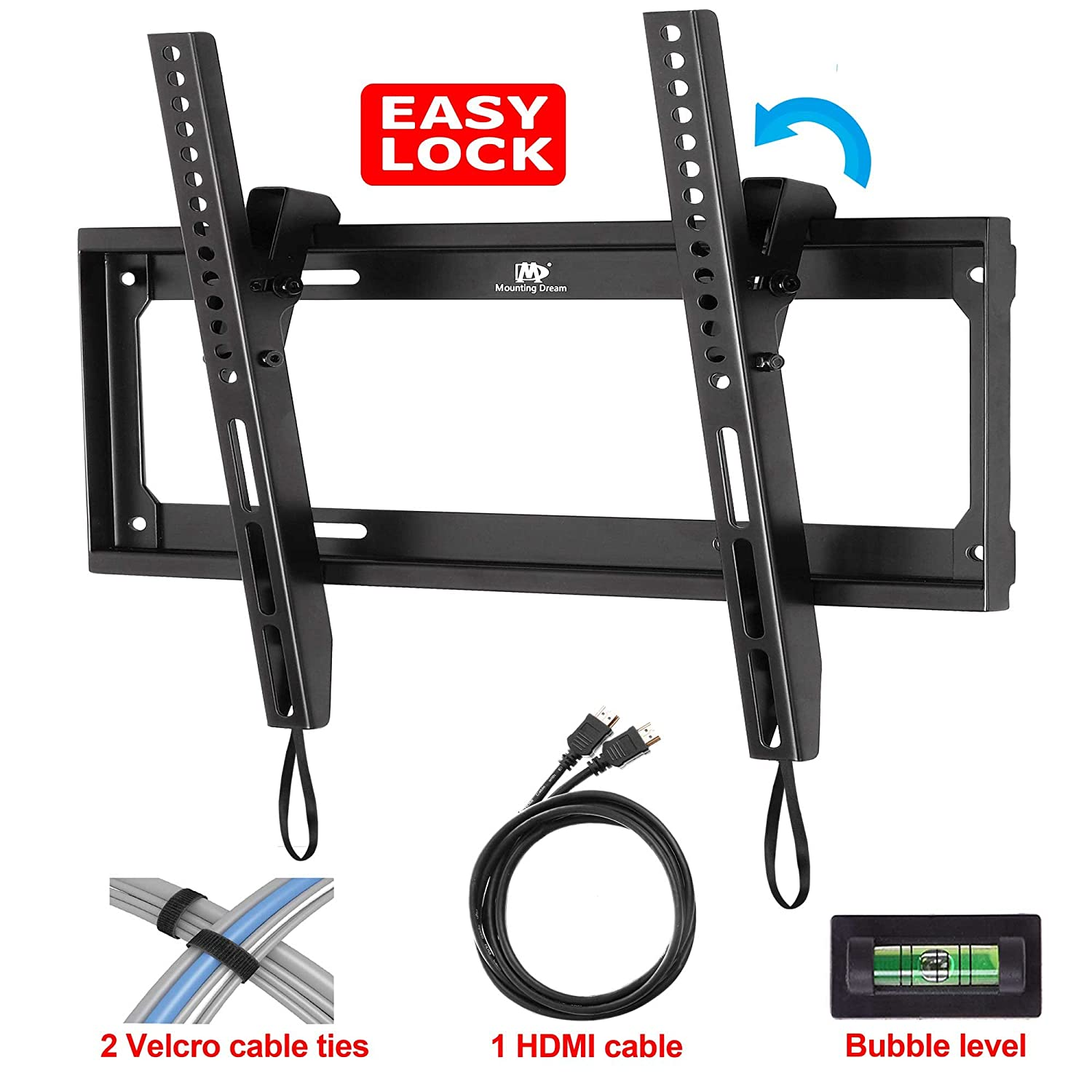 Mounting Dream® MD2268-MK Tilt TV Wall Mount Bracket for most of 26-55 Inches TVs with VESA from 75X75 to 400x400mm, Loading Capacity 100 lbs, 0-10 Degree Forward Tilt, Including 6 ft HDMI Cable and Magnetic Bubble Level