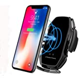 KMI CHOU A5 Wireless Car Charger,Automatic Clamping IR Intelligent Wireless Car Charger Mount - Car Charger Holder 10W Fast Charging for iPhone Xs Max/XR/X/8/8Plus Samsung S10/S9/S8/Note 8-Metal Black (Color: Metal Black)