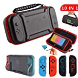 Accessories Kit for Nintendo Switch,Original Charge-Inside Mount Case TPU Cover Silicone Joy Con Gel Guards and Thumb Grip Caps Accessories Case for Nintendo Switch (10 in 1) (Color: Black, Tamaño: For Nintendo Switch)