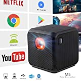 XPRIT Camping Portable Smart Cube Projector with Wi-Fi & Bluetooth, 50 ANSI, Android 7.1, Remote Control Included (Color: Black)