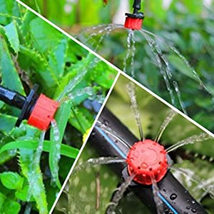 QMOEH 100 pcs 1/4 Inch Adjustable Irrigation Drippers Sprinklers Micro Emitter Drip Anti-Clogging Watering System for Flower beds, Vegetable Gardens,