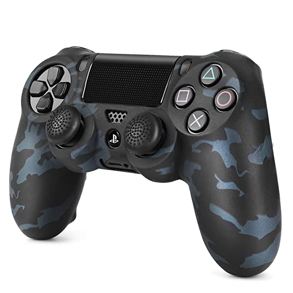 TNP PS4 / Slim/Pro Controller Skin Grip Cover Case Set - Protective Soft Silicone Gel Rubber Shell & Anti-Slip Thumb Stick Caps for Sony Playstation 4 Controller Gaming Gamepad (Camo Black) (Color: Camo Black)