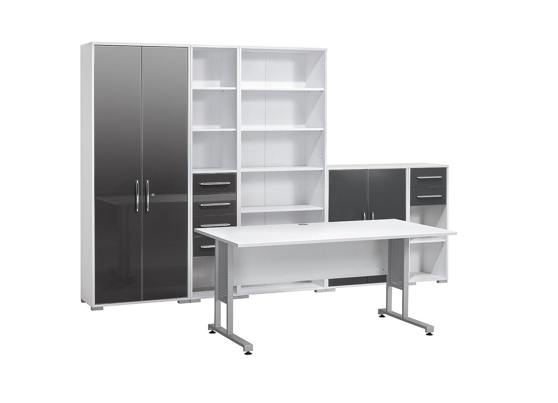 MAJA-Möbel 1200 3974 Büroprogramm SYSTEM, Icy-weiß - grau Hochglanz