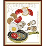 Stamped Cross Stitch Kits Cross-Stitching Pattern for Home Decor, Embroidery Crafts Needlepoint Kit-The Breakfast Pattern for Home Kitchen Wall Decorations (Color: Stamped 6.8×8.3 inch, Tamaño: 6.8×8.3 inch)