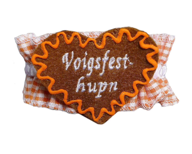 Knöchelband Tracht Orange kariert mit Namen – INDIVIDUELL BESTICKT – Fußband Oktoberfest Bayern günstig