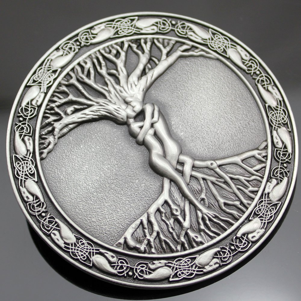 Q&Q Fashion Men Vintage Silver Celtic Tree Of Life Love Nordic Mythology Pagan Wicca Belt Buckle 2