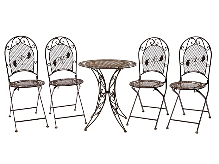 Set tavolo da giardino 4 sedie in ferro battuto mobili da giardino in ferro