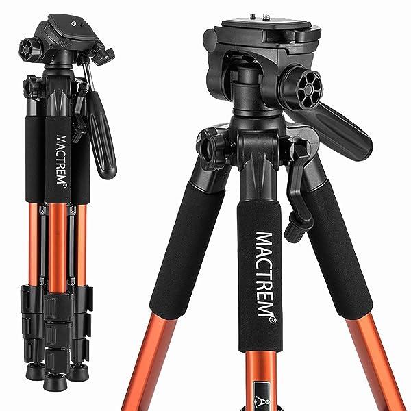 MACTREM PT55 TRAVEL CAMERA TRÍPODE DE ALUMINIO LIGERO para DSLR SLR Canon Nikon Sony Olympus DV con bolsa de transporte -11 lbs (5 kg) de carga (naranja)