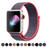 Yunsea Compatible for Apple Watch Band 38mm, New Nylon Sport Loop, with Hook and Loop Fastener, Adjustable Closure Wrist Strap, Replacement Band Compatible for iwatch, 38mm, Electric Pink (Color: Loop-electricpink, Tamaño: 38 mm)