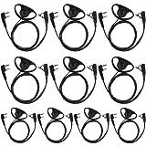 Tenq 10pack D Shape Earpiece Headset PTT for Kenwood Puxing Wouxun Baofeng Two Way Radio Walkie Talkie 2pin