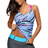 Aleumdr Womens 2018 V Neck Vintage Retro Printed Strappy Racerback Padded Tankini Swim Top Swimsuit No Bottom Large Size Blue (Color: Blue, Tamaño: Large (US 12-14))