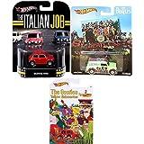 Retro Mini Car Collection Italian Job Hot Wheels White Entertainment Real Riders + Pop Culture Sgt. Peppers Album Cover '67 Austin Van & Beatles Exclusive Morris Mini British car