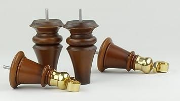 4 x pies de madera maciza muebles de ricino de latón de 165 mm de altura para sofás, sillas, taburetes sofás M8 (8 mm)