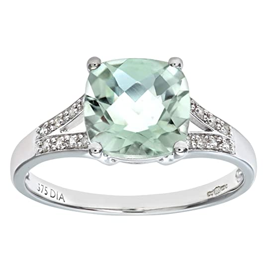 Naava 9ct White Gold Cushion Cut Green Amethyst Ring With Diamond Shoulders