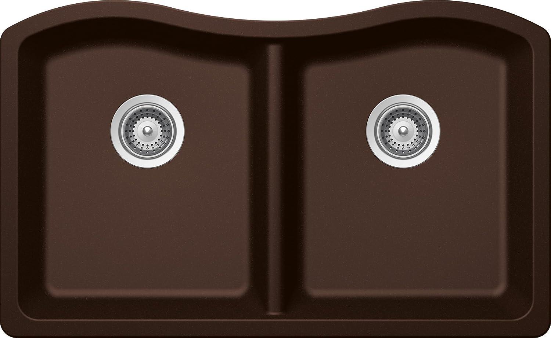 SCHOCK ASHN200U086 ASH Series CRISTADUR 50/50 Undermount Double Bowl Kitchen Sink, Chocolate