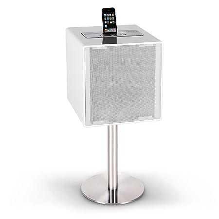 Auna HighQube - Enceinte Hifi Bluetooth pour streaming audio design lounge moderne avec entrée AUX et port USB pour recharge et support smartphone (woofer 13cm, bassreflex, télécommande incluse) - blanc