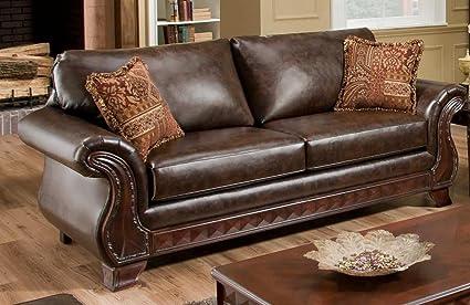 Chelsea Home Furniture Jefferson Sofa, New Era PU Walnut/Thailand Spice Pillows (2)