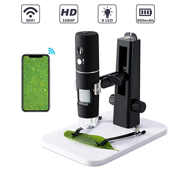 Wireless Digital Microscope,ROTEK WiFi USB Microscope Camera 50x and