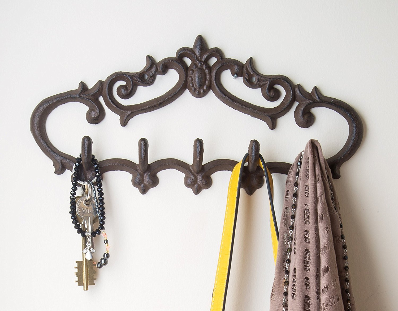 Cast Iron Wall Hanger Vintage Design With 5 Hooks Keys
