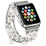 fastgo Compatible for Apple Watch Band 38mm 42mm 40mm 44mm, Artificial Elastic Jewelry Compatible for Iwatch Bands Womens Compatible for Apple Watch Bracelet Series 4/3/2/1 (Color: White-38mm 40mm, Tamaño: Small, Large, Xlarge)